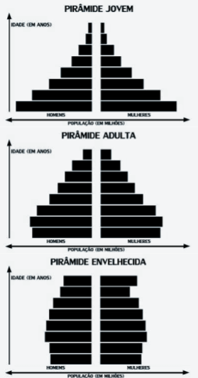 A imagem contém os três tipos de pirâmides etárias relacionados ao envelhecimento populacional: pirâmide jovem, adulta e envelhecida.
